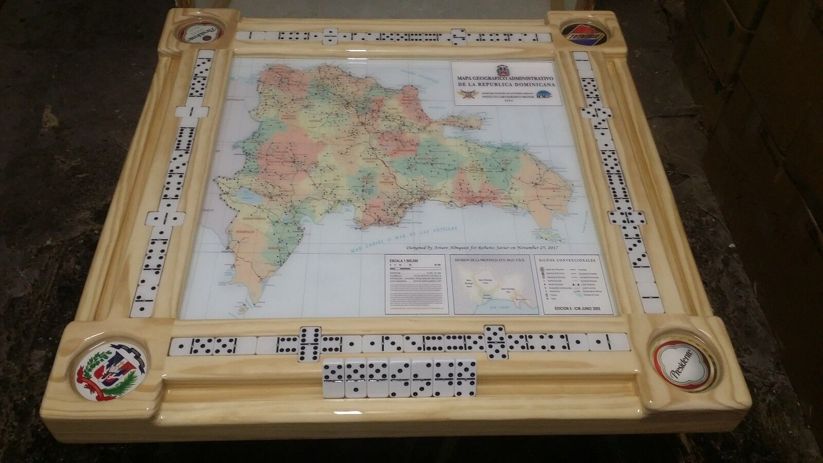 Dominican Republic Map Domino Table by Domino Tables by Art