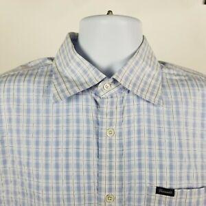 Faconnable-Mens-100-Cotton-Blue-White-Check-Dress-Button-Shirt-Sz-Large-L