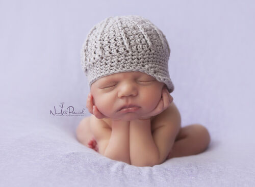Hand Crochet Knitted Baby Hat Paper Boy Girl Peaked Cap Photo Prop Newborn 12M