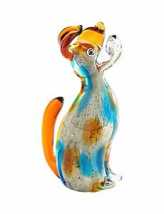 "New 7/"" Hand Blown Art Glass Cat Figurine Sculpture Statue Blue Amber Decorative"