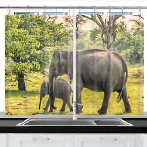 Details About Elephant Mother Baby Elephant Kitchen Curtains 2 Panel Set Decor Window Drapes