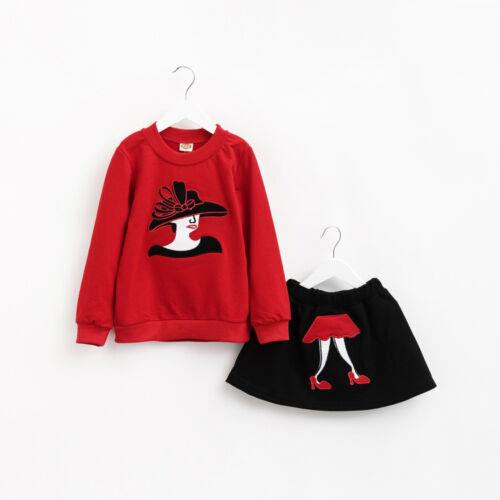 2PCS Bébé Fille Fashion Tenues T Shirt Tops Jupe Enfants Vêtements Set