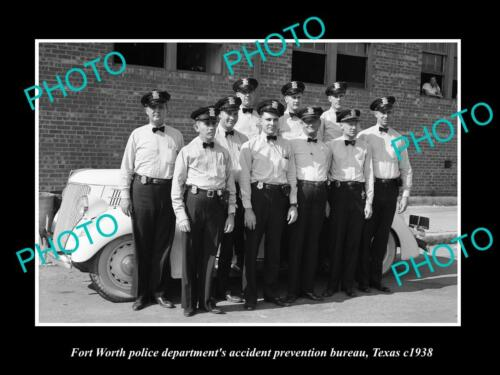 OLD LARGE HISTORIC PHOTO OF FORT WORTH TEXAS, THE POLICE ACCIDENT BUREAU c1938