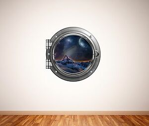 Full Colour Space Porthole Planets Galaxy Wall Art Sticker Decal Transfer WSD648