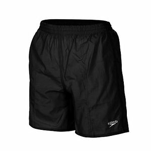 SPEEDO-BOYS-SOLID-SWIM-SHORTS-SWIMMING-TRUNKS-BLACK-S-M-L-AGES-6-11-YEARS