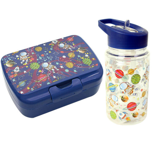 Set Of 2 Plastic Children Kids Food Meal Storage Lunch Box And Drinking Bottle