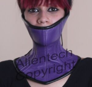 086e9d72a0 Image is loading Bright-Purple-Real-Leather-Over-Mouth-Neck-Corset