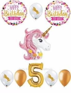 Image Is Loading 9 Pc PINK Amp GOLD Unicorn 5th Birthday