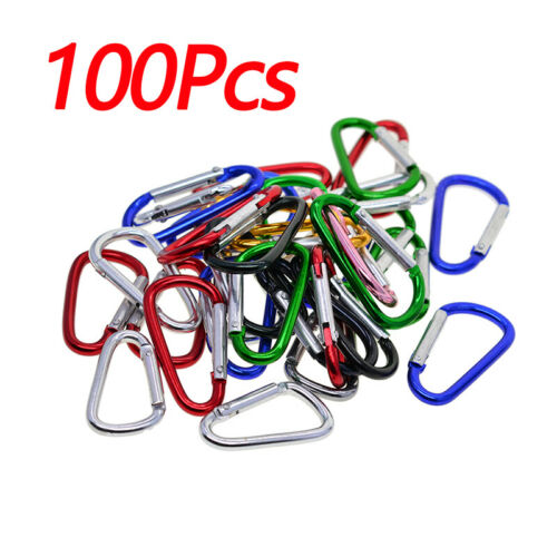 Carabiners Clip Set 50//100 Multicolor Pack Of 3 Inch Locking D Ring Shape Clips