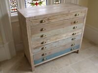 Shabby Chic Wooden Chest Of Draws In A Painted Washed Finish 3036
