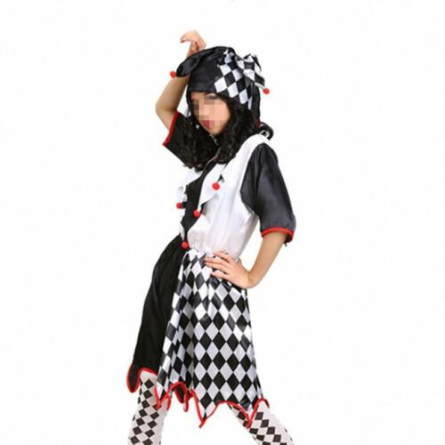 Harlequin Jester Couples Costume Halloween Clown Medieval Adult Fancy Dress