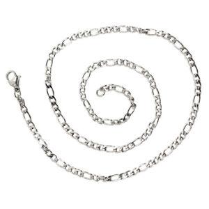 1X-Schmuck-Halskette-Edelstahl-Figarokette-Halskette-Silber-Breite-3mm-6A
