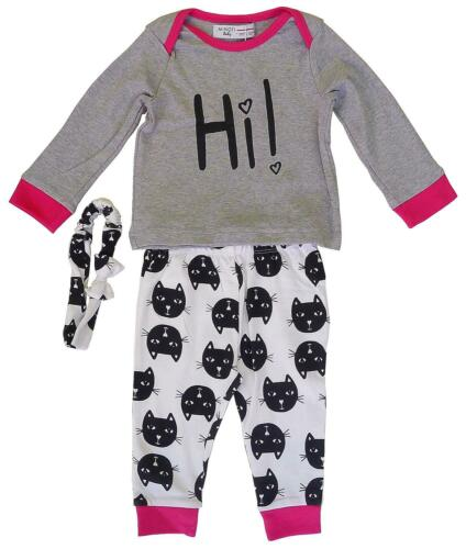 Baby Girls Minoti Top Kitten Bottoms /& Headband Outfit Set Newborn to 12 Months