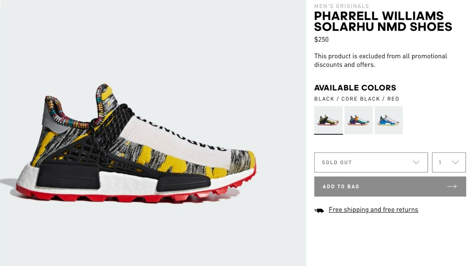 Adidas HU NMD Pharrell Human Race Solar Pack Red Red Red BB9527US Size 9 a51bf9