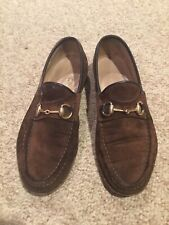 5e597fa77b3 Gucci Mens Loafer Size 10D Chocolate Brown Suede Men s Classic Dress Shoes