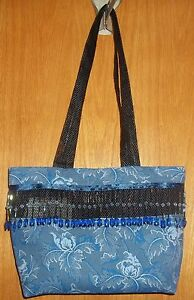 NEW-Handcrafted-Decorative-Cloth-Bag-With-A-Beaded-Fringe