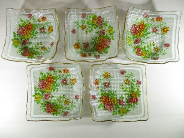 Vintage 1950's Ice Cream Plates 5 plates gold leafed edges & floral print Glass