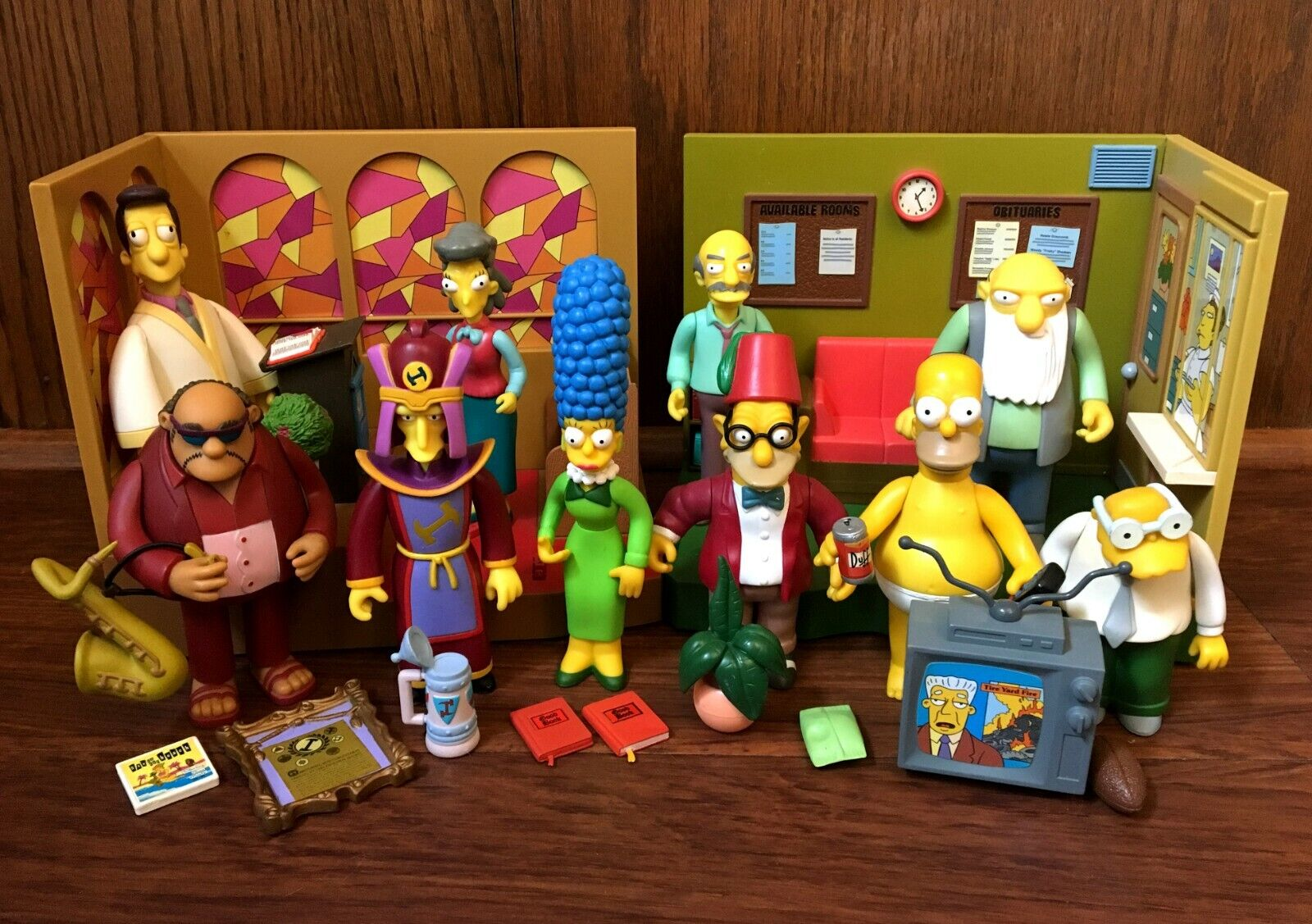 Simpsons WOS Playmates Figures Playsets Accessories Lot Church Retirement Castle