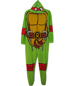 TMNT-Hoodie-Rafael-UNION-SUIT-Pajamas-PJs-Size-S-Footless-One-Piece-Zip-Front