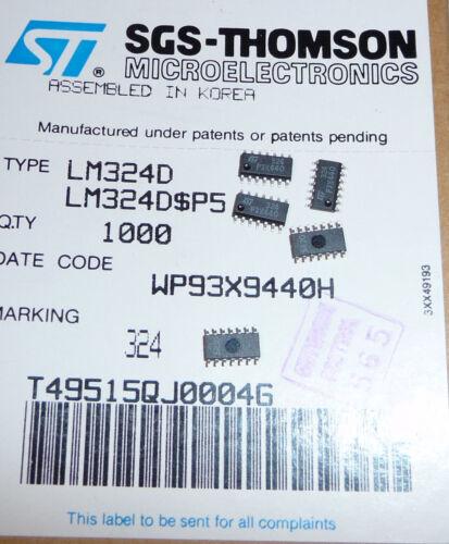 STM LM324 D Quad OPV SMD SO14 Amp Audio Batteriewächter Filter etc 10x org NOS