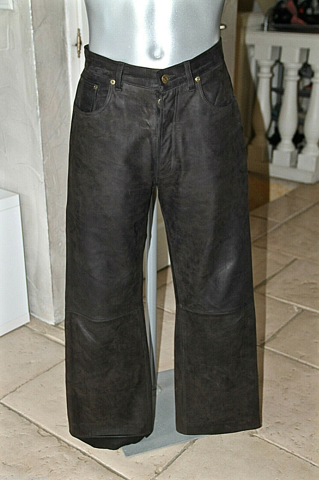 Jeans Man Leather Cow Brown Oakwood Size 42 Fr W32 Mint Val