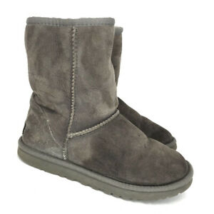 ugg womans brown suede sheep skin casual boots pull on mid