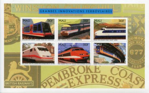 Mali 1996 MNH Trains Railway Innovations 6v M/S Züge Treni Chemin de Fer Stamps