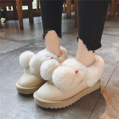 Women/'s Fluffy Snow Boots Warm Cotton Shoes Winter Low Top Thicken Flat Sz Lit01