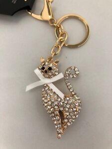 Cat Diamante Key Ring//Handbag Charm