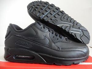 official photos 8be65 44714 Image is loading NIKE-AIR-MAX-90-LEATHER-ALL-BLACK-BLACK-