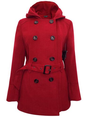 Ricci Capricci pour femme Rouge foncé doublé boutonnage à capuche manteau UK10 12,14,16,18,20