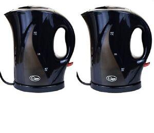 IngéNieux 2x Noir 1.7 Litre 2000w Sans Fil Rapide Bouillir électrique Cruche Bouilloire Filtre Lavable-afficher Le Titre D'origine Pour Convenir à La Commodité Des Gens