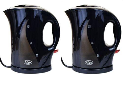 2x Nero 1.7 LITRO 2000w Cordless Veloce Bollire Elettrico Brocca Bollitore Filtro Lavabile