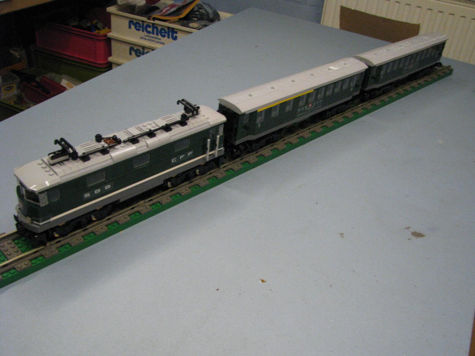 Unikat SBB Schnellzug E-Lok RE 4/4 mit 4 Stahlwagen passend zur LEGO Eisenbahn