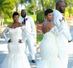 42af58f5cfb 2018 Plus Size Lace Mermaid Long Sleeve Sheer Wedding Dress Bridal ...