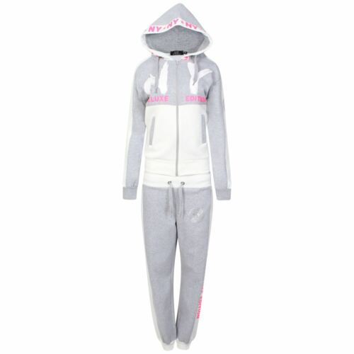 Girls New Contrast NY Deluxe Edition Tracksuit Sweat Top /& Jog Track Bottoms Set
