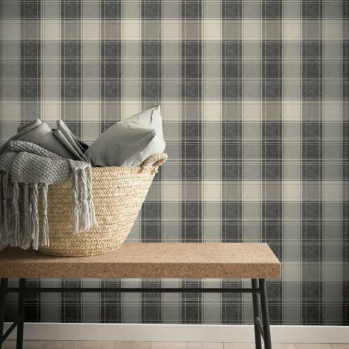 Arthouse Tartan Check Grey Mono Chic Country Faux Fabric Wallpaper 906703