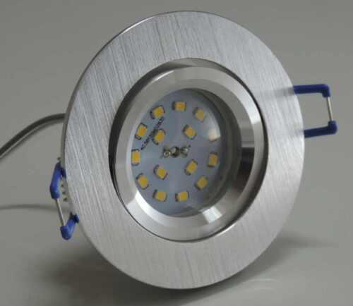 3xFlache Flat Led Einbauspot alu gebürstet warmweiß Einbautiefe nur 30mm 230V