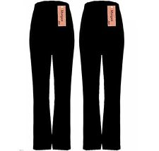 Sizes uk8-uk26 2 PAIRS PACK Ladies Ribbed STRETCH Bootleg Trousers In Black
