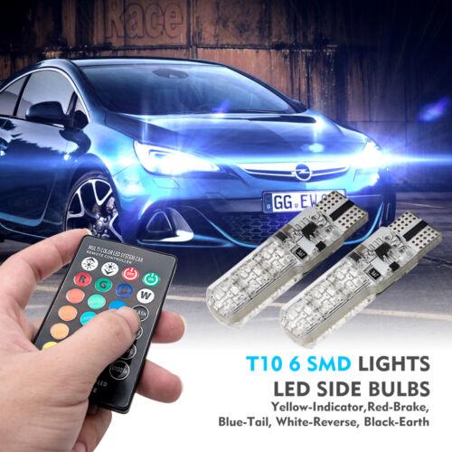 LED T10 Éloigné Contrôle W5W 501 RGB Couleur Changeant Voiture Coin Côté Lumière