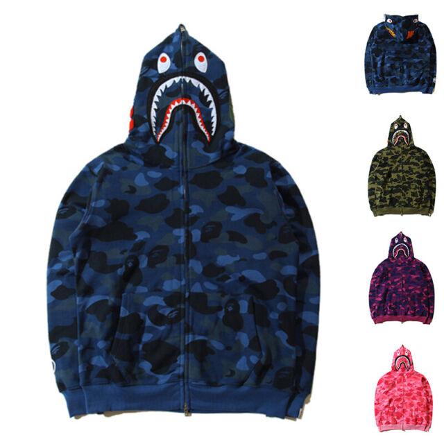 BAPE Men/'s A Bathing Ape Camo Coat Shark Head FULL ZIP JACKET Hoodie Sweats New