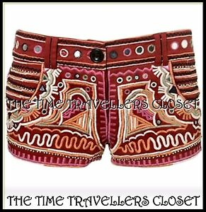 Kate-Moss-Topshop-Red-Mirrored-Embroidered-Bead-Festival-Hot-Pants-Shorts-UK-10