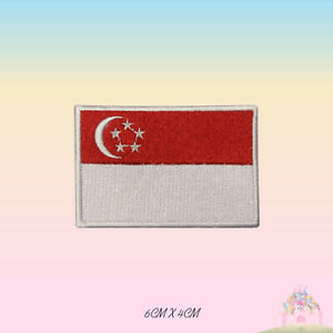 Singapore National Flag Embroidered Iron On Patch Sew On Badge