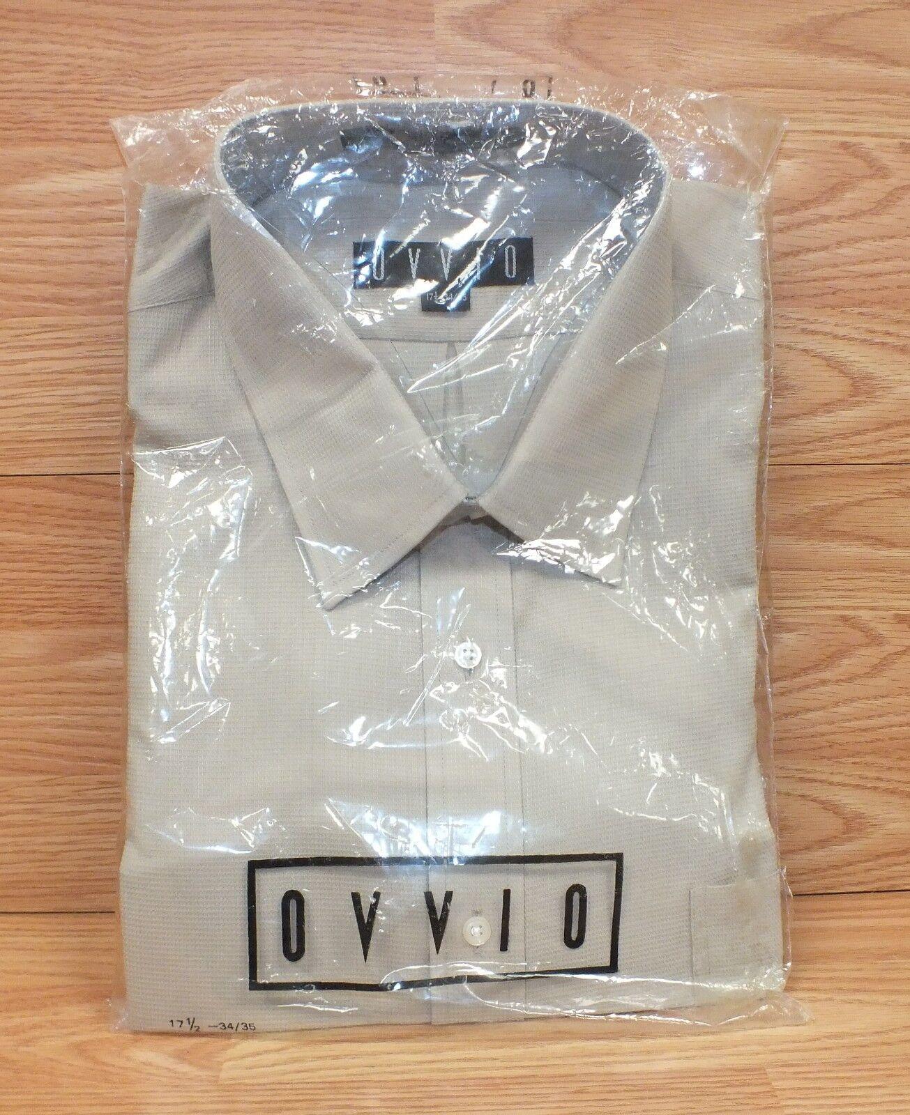 Ovvio Beige 17 1 2 - 34 35 Men's Casual Long Sleeve 100% Fine Cotton Shirt NEW