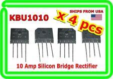 Single Phase 10A 1000V KBU1010 Diode Bridge Rectifiers 4pin KBU-1010 x (4 PCS)