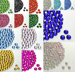 1000-pack-Hotfix-Iron-on-or-Glue-on-Rhinestone-Diamante-various-colours-and-size