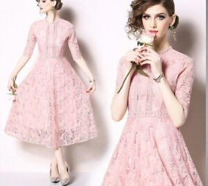 Kleid Lang Weich Rosa Spitze Event Elegant Hülle 3611 | eBay