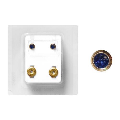1 Paar Medizinische Ohrstecker Studex vergoldet Zarge mit Stein in blau 4mm