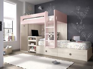 Design Hochbett Kinderzimmer Jugendzimmer XXL Schubladen Schrank ...