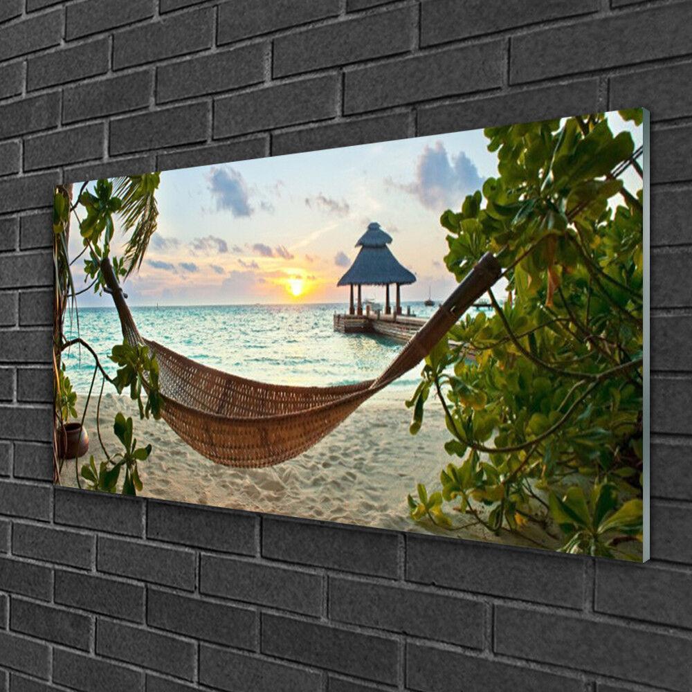 Image sur verre acrylique Tableau Impression 100x50 Paysage Plage Hamac
